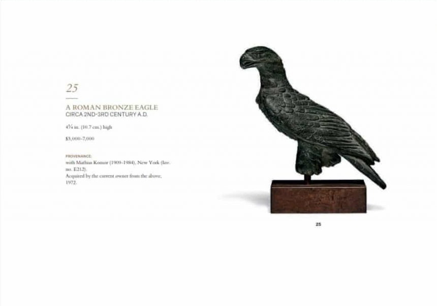 Christie's pulled this Roman bronze eagle sculpture from auction after its ties to a known trafficker in looted antiquities were uncovered. Credit: Christie's Auctions