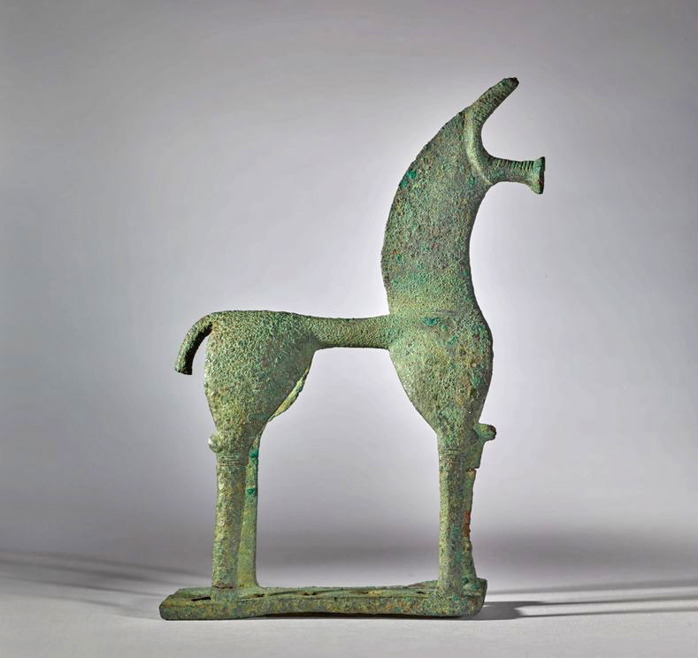 The bronze horse in the Corinthian style and from the Geometric Period.