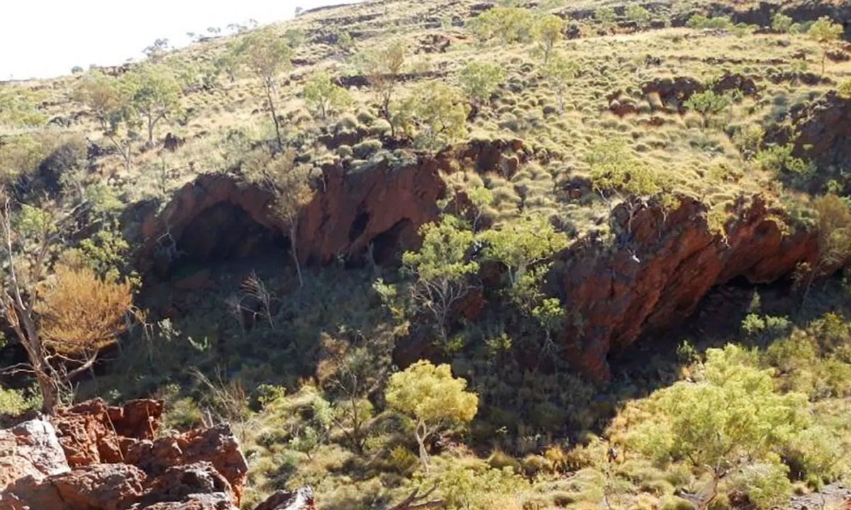 The Juukan 2 cave destroyed during works with explosives. Photo: The Puutu Kunti Kurrama and Pinikura Aboriginal Corporation