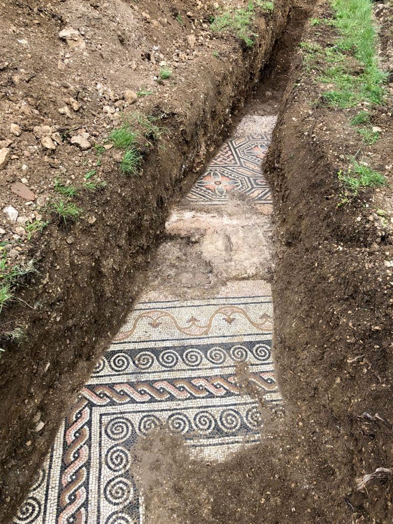 Section of the mosaic floors unearthed at Negrar di Valpolicella (photo: Soprintendenza Verona).