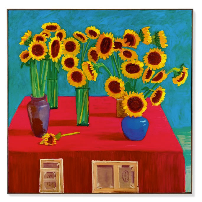 "David Hockney, ""30 Sunflowers"". Image credit: Sotheby's."