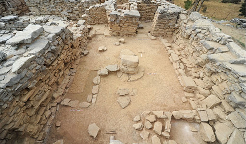 Ancient Zominthos is the only palace found in a mountainous area and is situated there because it is also the site of the Ideon Andron /Cave the most important sanctuary on Crete, according to the excavator.