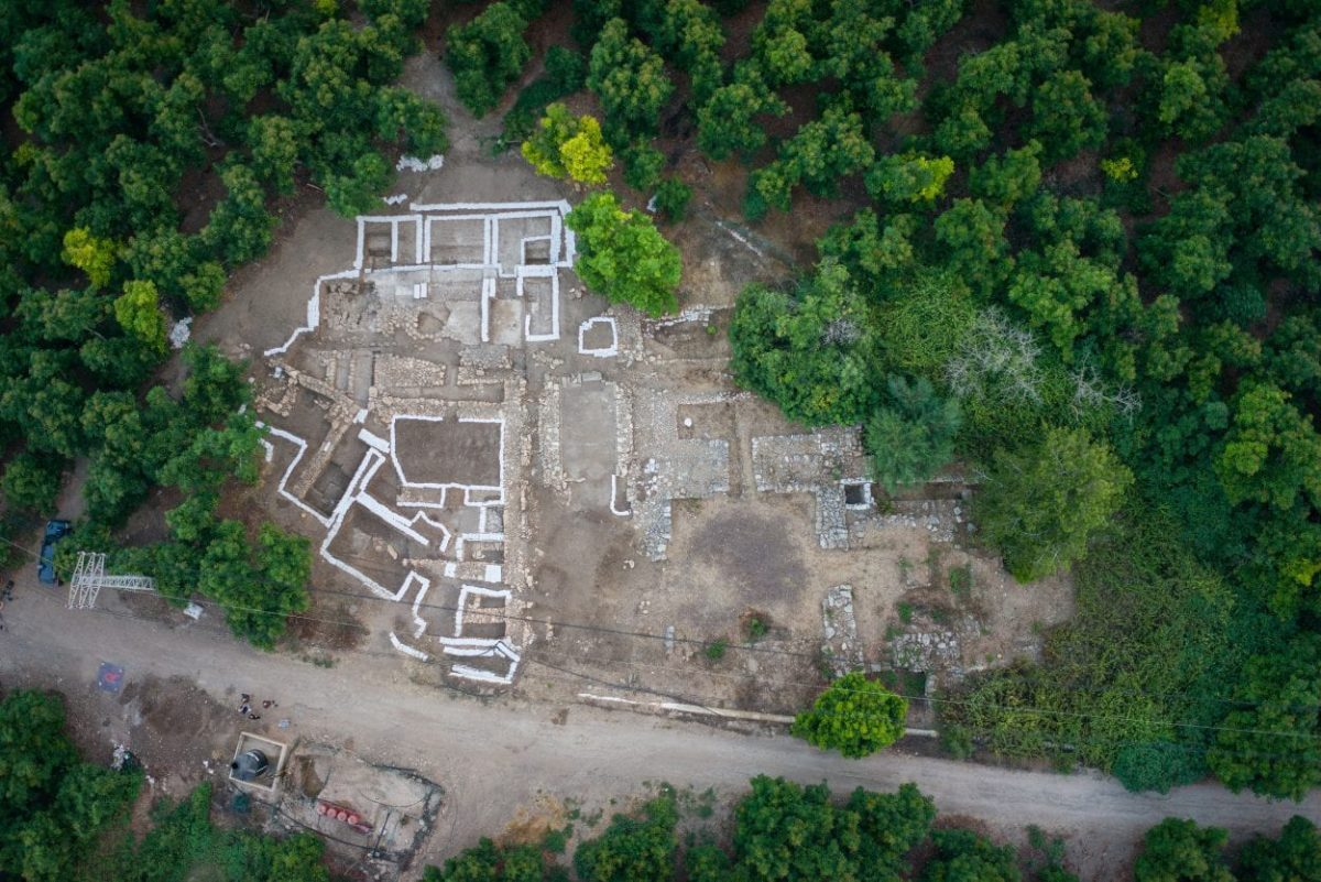 Aerial view of the Canaanite site excavation. Credit: George Washington University