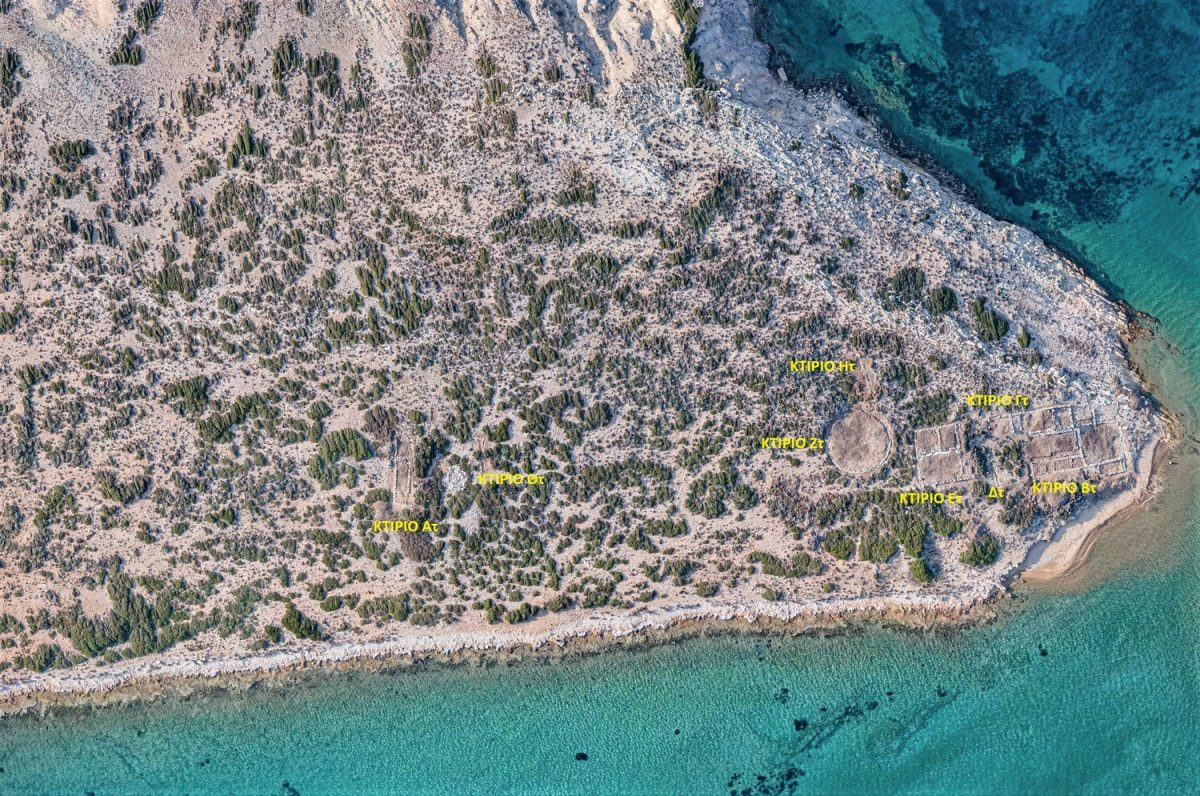 Aerial photograph of the southeastern part of Tsimintiri, with the buildings found so far. (Photo: Ministry of Culture)