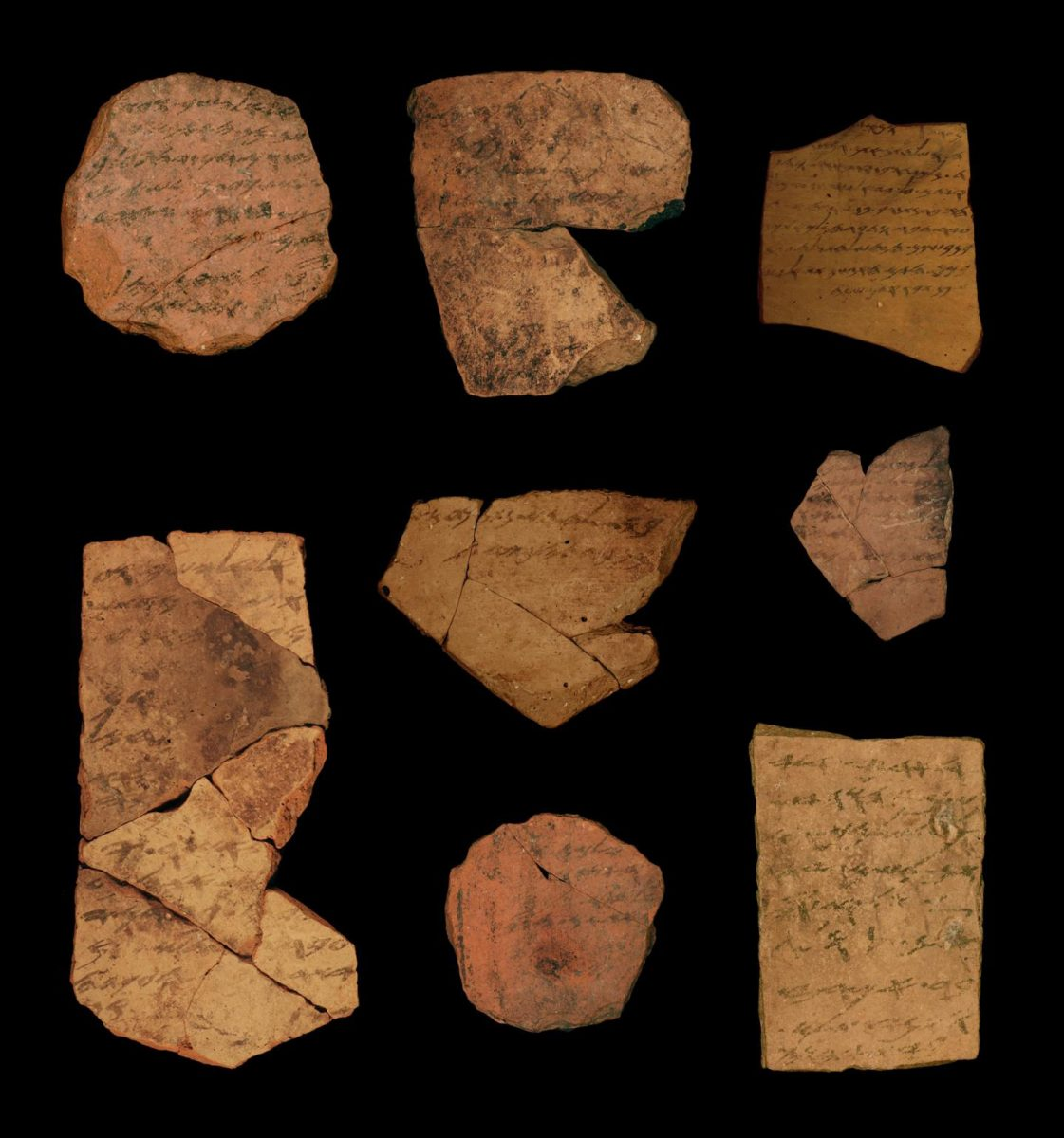 Examples of Hebrew ostraca from Arad. Credit: Michael Cordonsky, TAU and the Israel Antiquities Authority