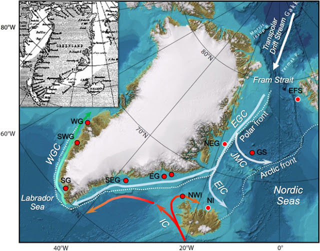 The map shows Greenland and adjacent ocean currents. Coloured circles show where some of the sediment cores used in the study were obtained from the seafloor. The small historical map from  the beginning of the 20th century shows the distribution of Storis, or sea ice from the Arctic Ocean, which flows down the east coast of Greenland. Credit: Miles et al., 2020