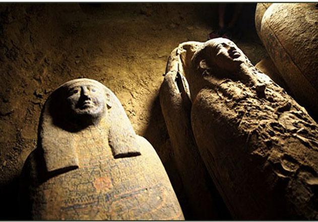 Sealed sarcophagi found in Saqqara. (MoTA).