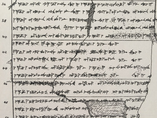 According to the traditional method, a hand copy of the cuneiform text is made from a clay tablet. Credit: Doris Prechel.