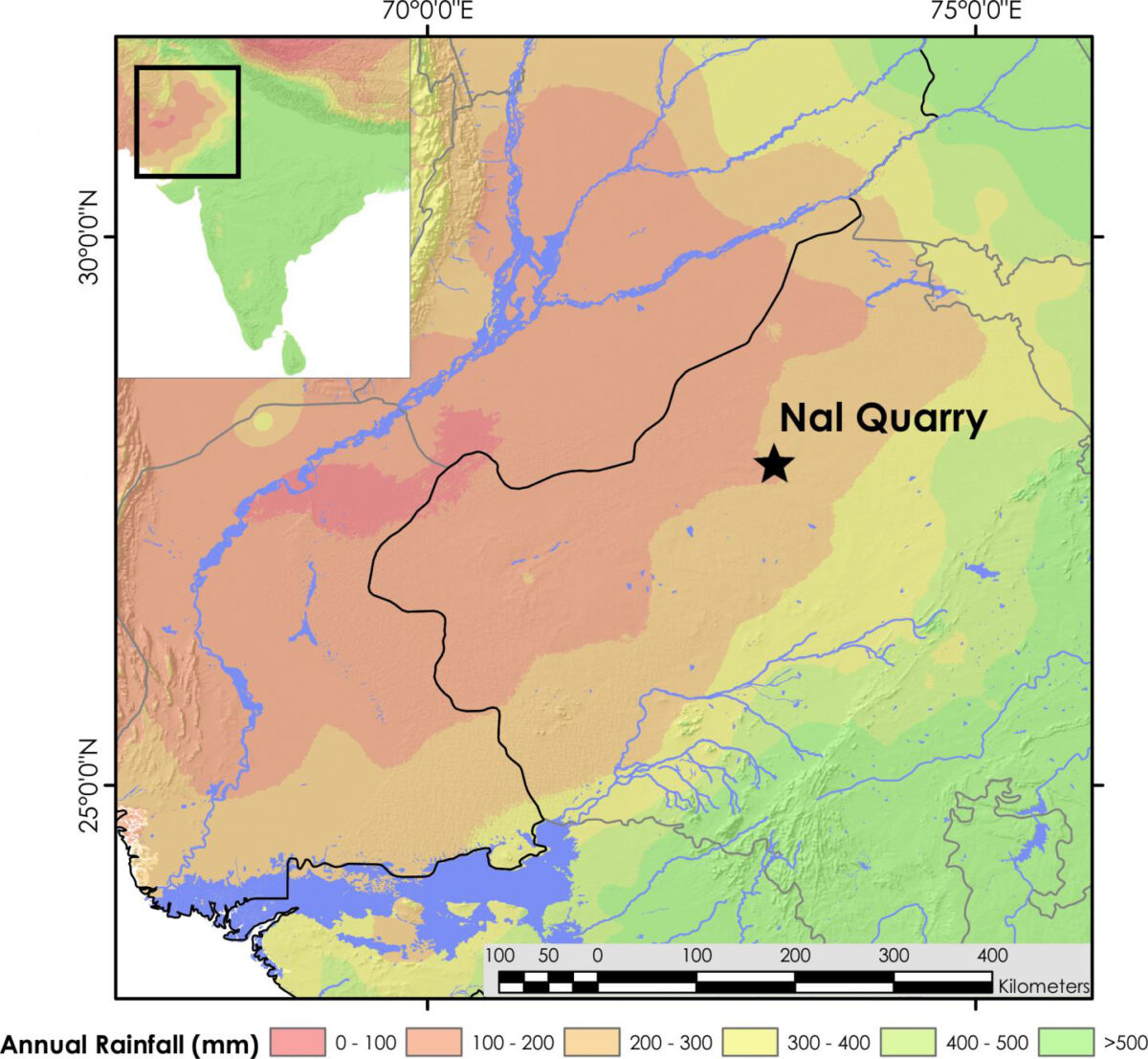 Map showing the location of Nal Quarry at the threshold of the Asian monsoon, and ~200km away from modern rivers in the Thar Desert. Credit: J. Blinkhorn