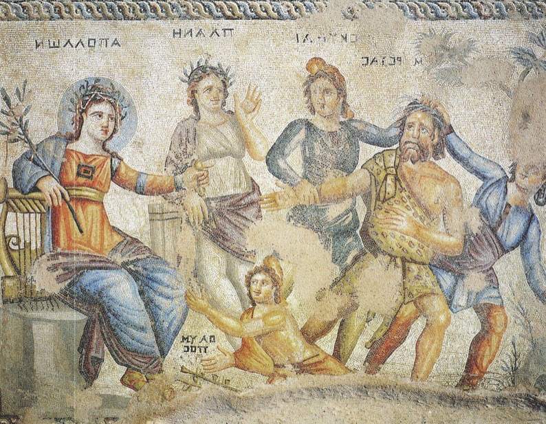 Mosaic from House of Aion in Paphos. The panel shows judgement of Marsyas, losing the music contest to Apollo. Credit: W. Jerke