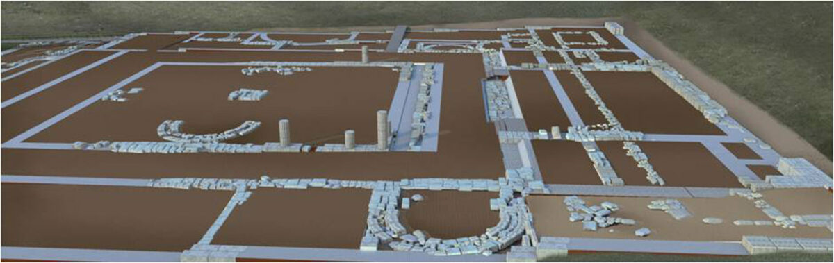 Photorealistic rendering of the Building 1, showing the men's apartment where banquets took place with the king's participation, the central courtyard with an altar in the middle and arched platforms for conducting rituals (photo: Ephorate of Antiquities of Pella).