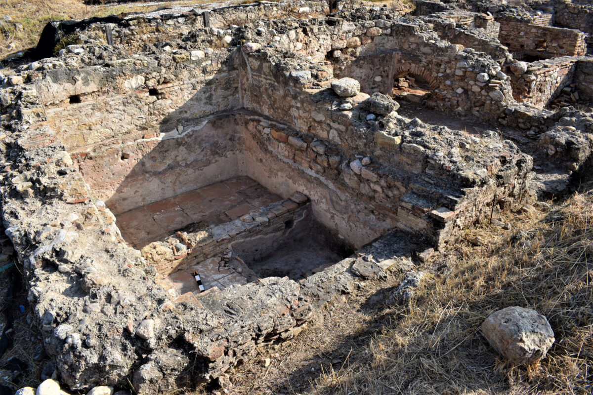 Area of the Balneum converted into a wine press (photo: Ephorate of Antiquities of East Attica)