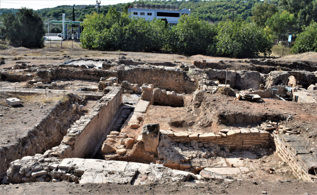 View of the central part of the site from the north (photo: Ephorate of Antiquities of East Attica)