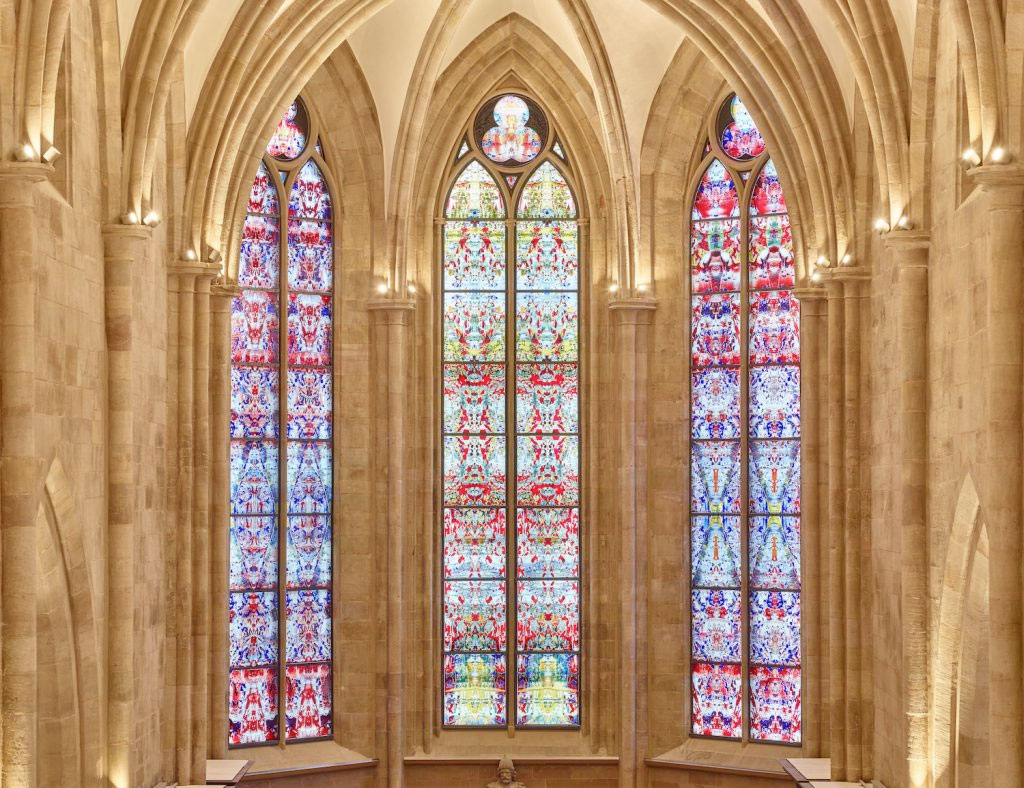 Stained glass window by Gerhard Richter in the Tholey Abbey (photo: Tholey Abbey).