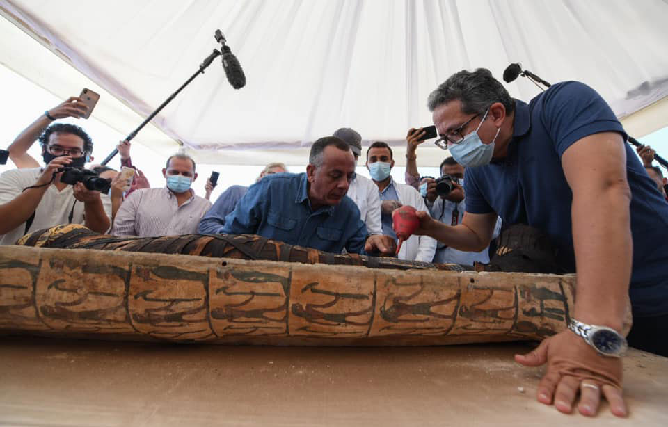 One of the sarcophagi was opened  to the public.