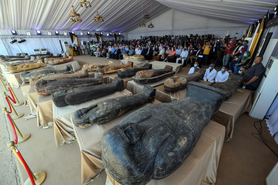 The sarcophagi in front of the audience.