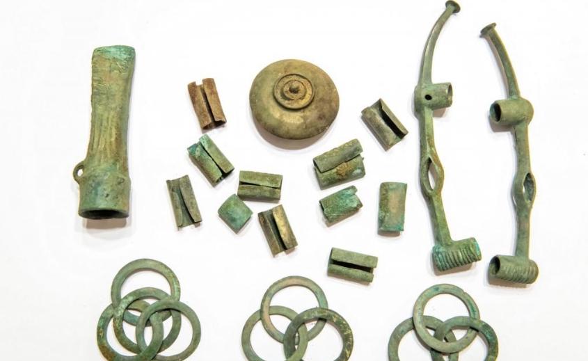 The 2,500-year-old decorated bronze pieces. Credit: Tytus Żmijewski