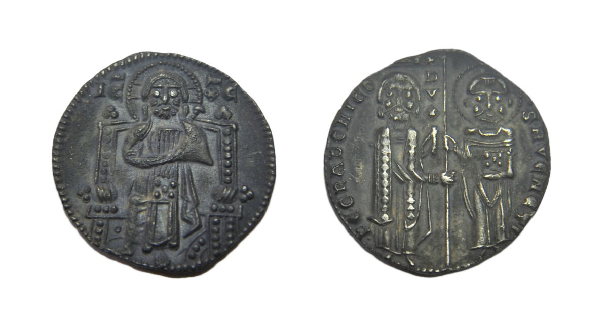 Zominthos: Coin of the Doge of Venice Pietro Gradenigo (1289-1311), which coincides with the 4th Crusade and the period of Venetian rule in Crete (photo: MOCAS).