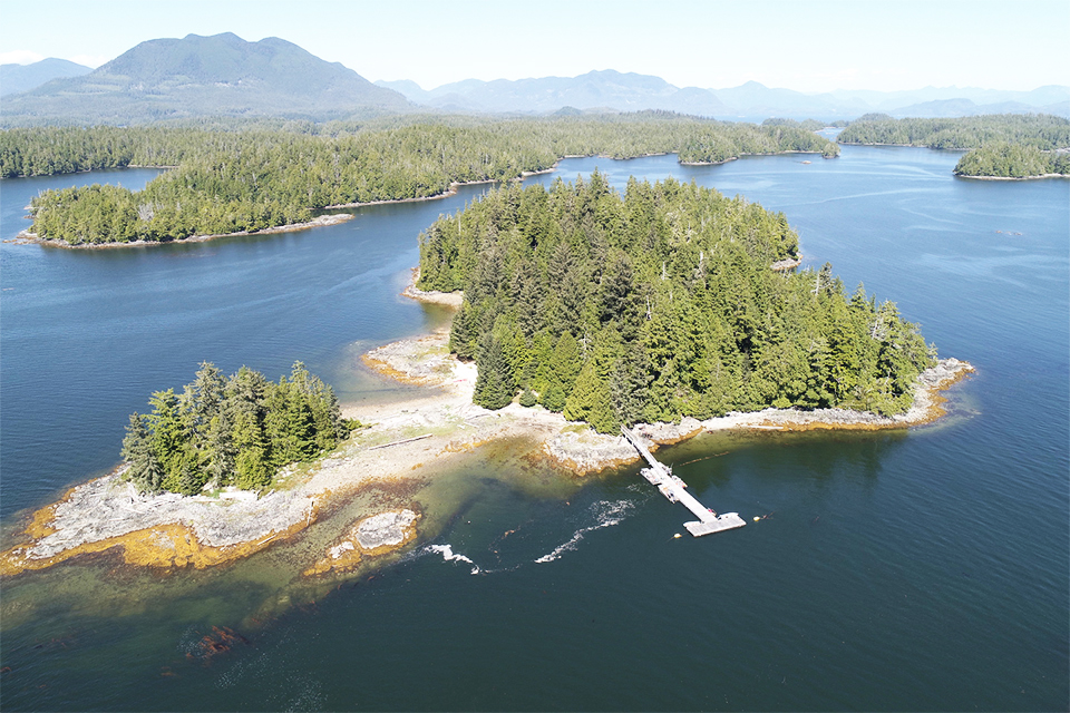 Keith Island, one of four archaeological sites in study and a Tseshaht First Nation Reserve, which has been the focus of an archaeological project partnership between Tseshaht First Nation, Pacific Rim National Park Reserve, Bamfield Marine Sciences Centre, and the University of Victoria. Photo: Hakai Institute