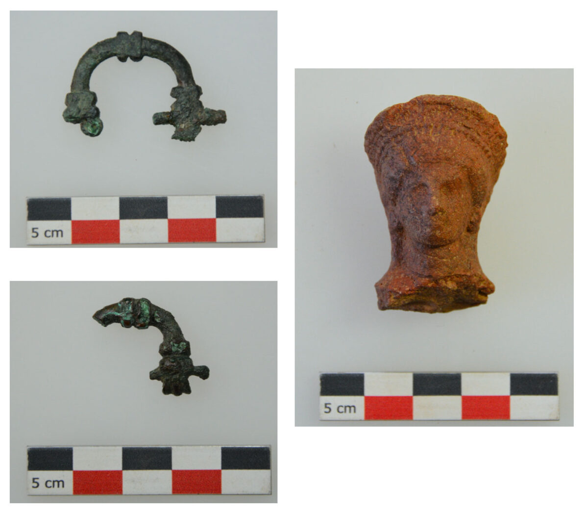Fig. 6. Votive offerings from the sanctuary (copper buckles, head of a female clay figurine).