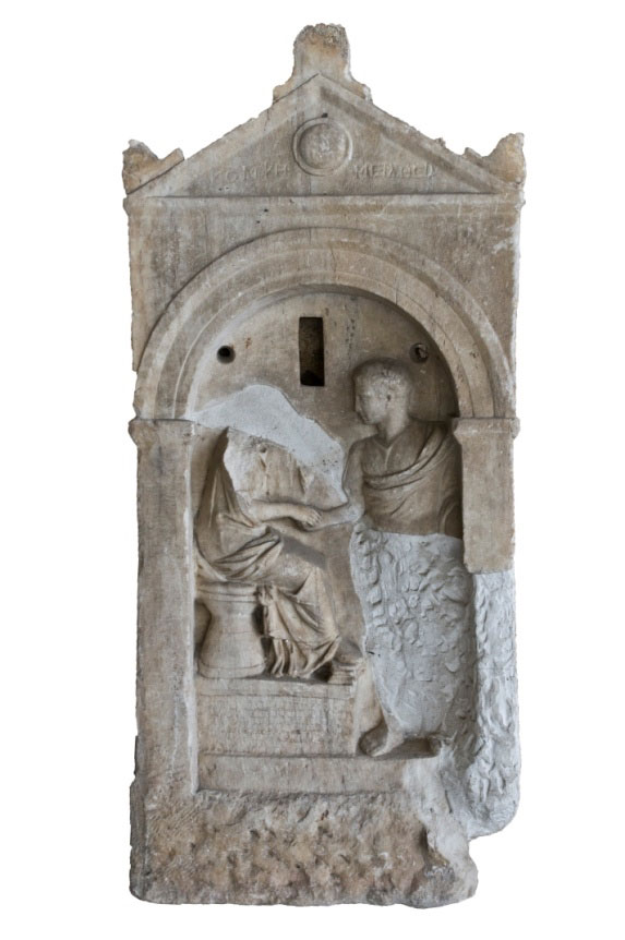 Fig. 2. Burial stele of the early Roman era, from the 1970 excavation in Aiolou Street.  (Image credit: MOCAS)