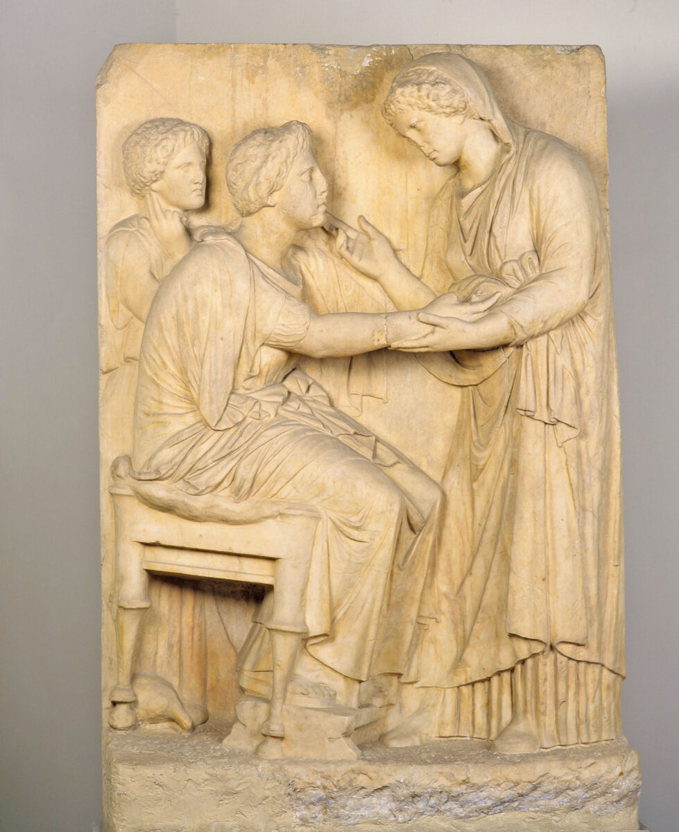 Fig. 3. Burial stele, known as the Farewell Stele, found in today's Athinas Street. On display today in the National Archaeological Museum. (Image credit: MOCAS)