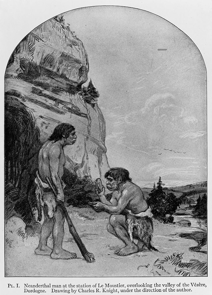 Neanderthal Man at the station of Le Moustier, overlooking the Vally of the Vezere, Dordogne. Image credit: Wellcome Images, website operated by Wellcome Trust, a global charitable foundation based in the United Kingdom. Refer to Wellcome blog post (archive).