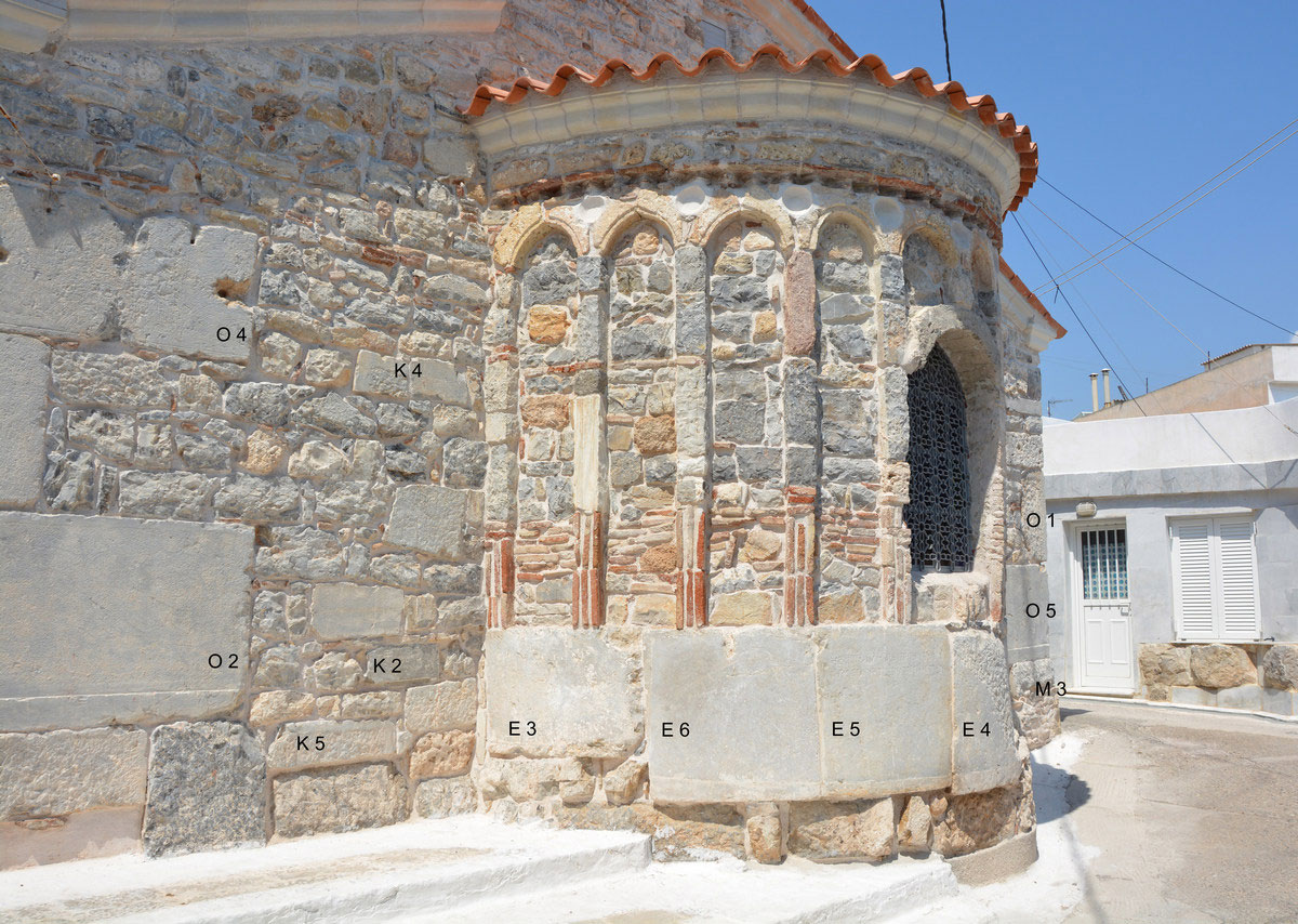 The Taxiarches church in Ermioni built over the ancient temple of Demeter Chthonia (built in ancient members can be distinguished). Photo: MOCAS