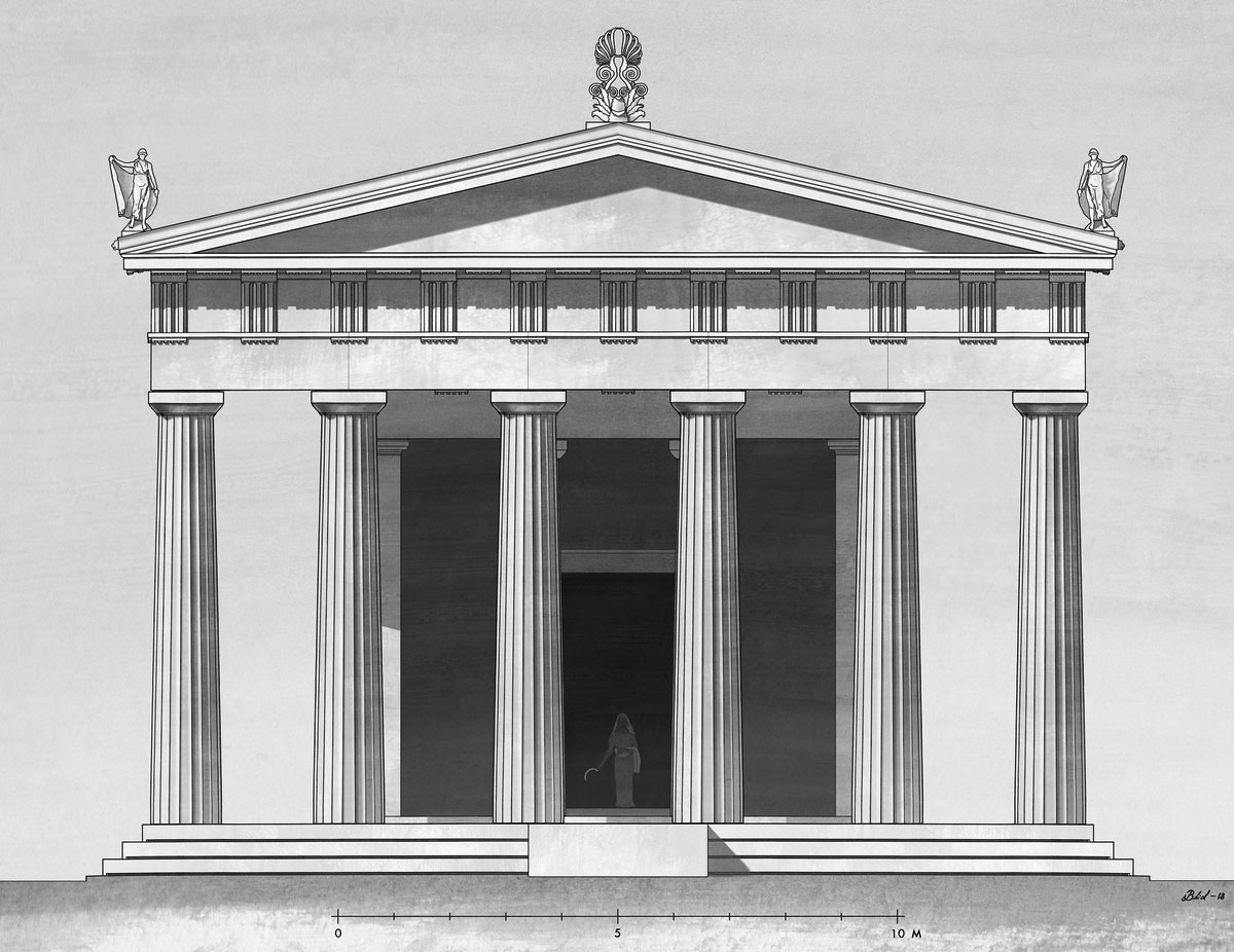 Reconstruction of the Late Classical temple of Demeter Chthonia by architect Jesper Blid. (Photo: MOCAS)
