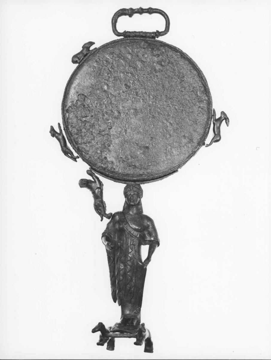 Bronze Caryatid mirror from Ermioni (5th c. BC). Photo: MOCAS