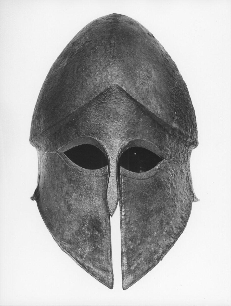 Bronze Corinthian style helmet from Ermioni (5th c. BC). Photo: MOCAS