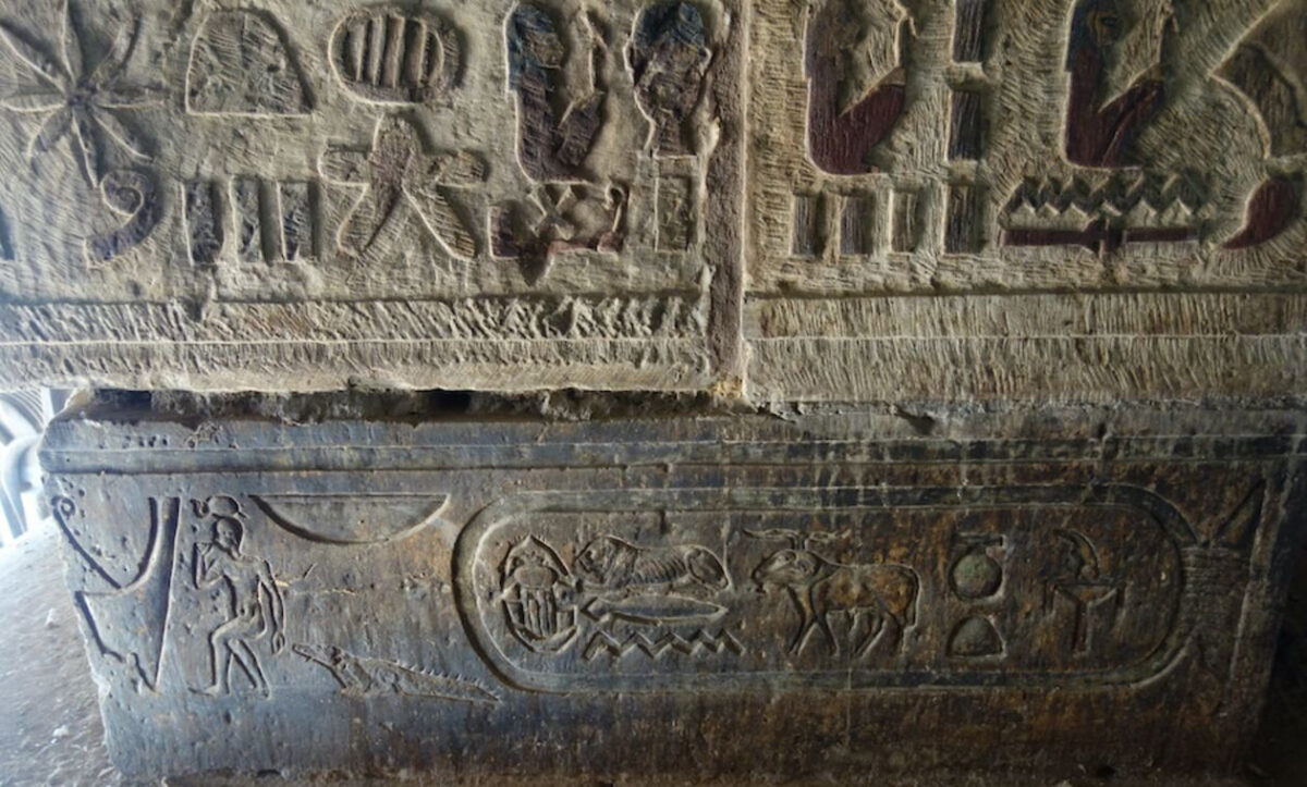 Detail of a frieze (autumn 2019). The cartouche contains the name of Hadrian, framed by the local god Khnum (left) and the solar god Behedeti (right). Credit: Ahmed Amin