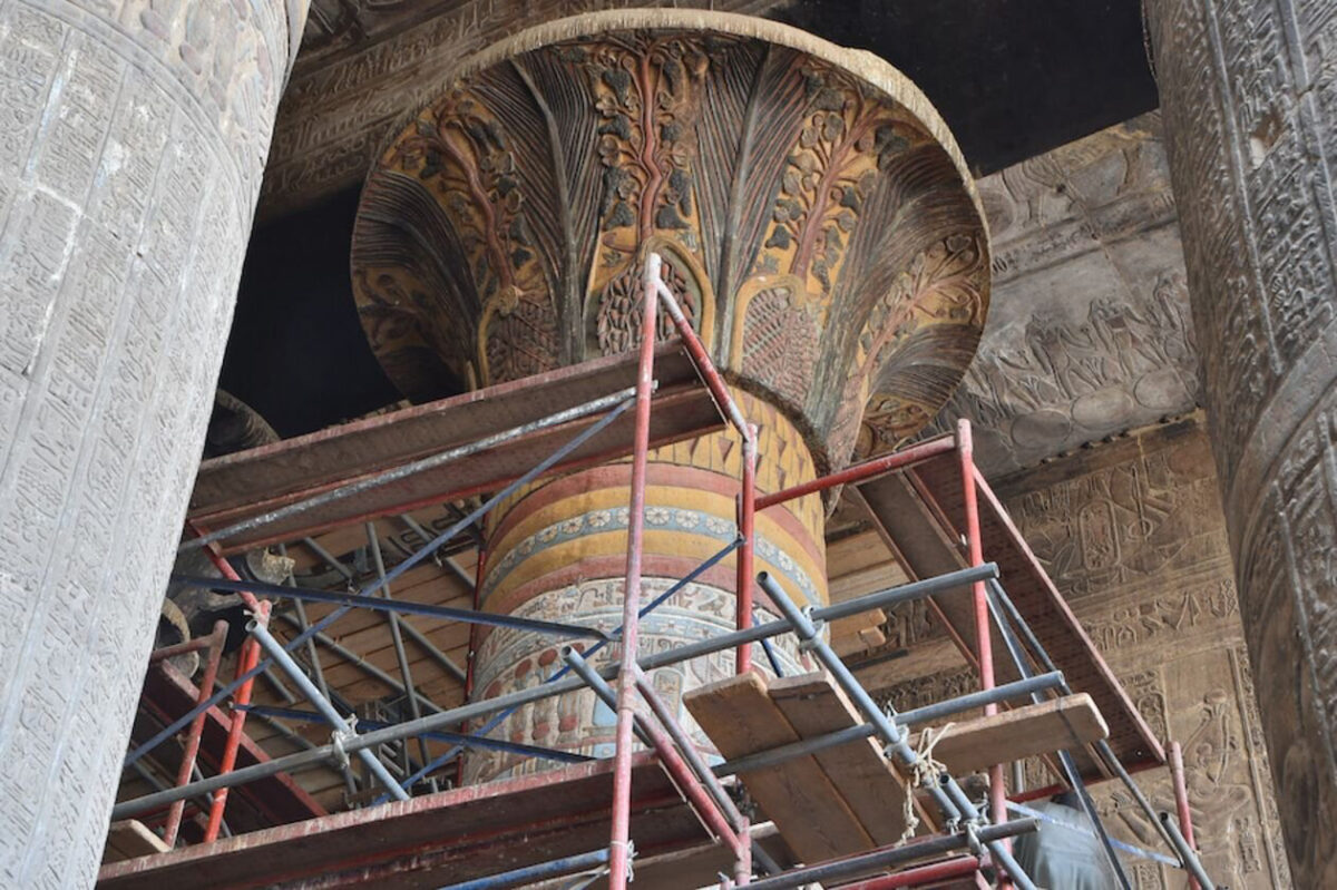 A restored column capital (spring 2019) shows the decoration in color. Credit: Ahmed Amin