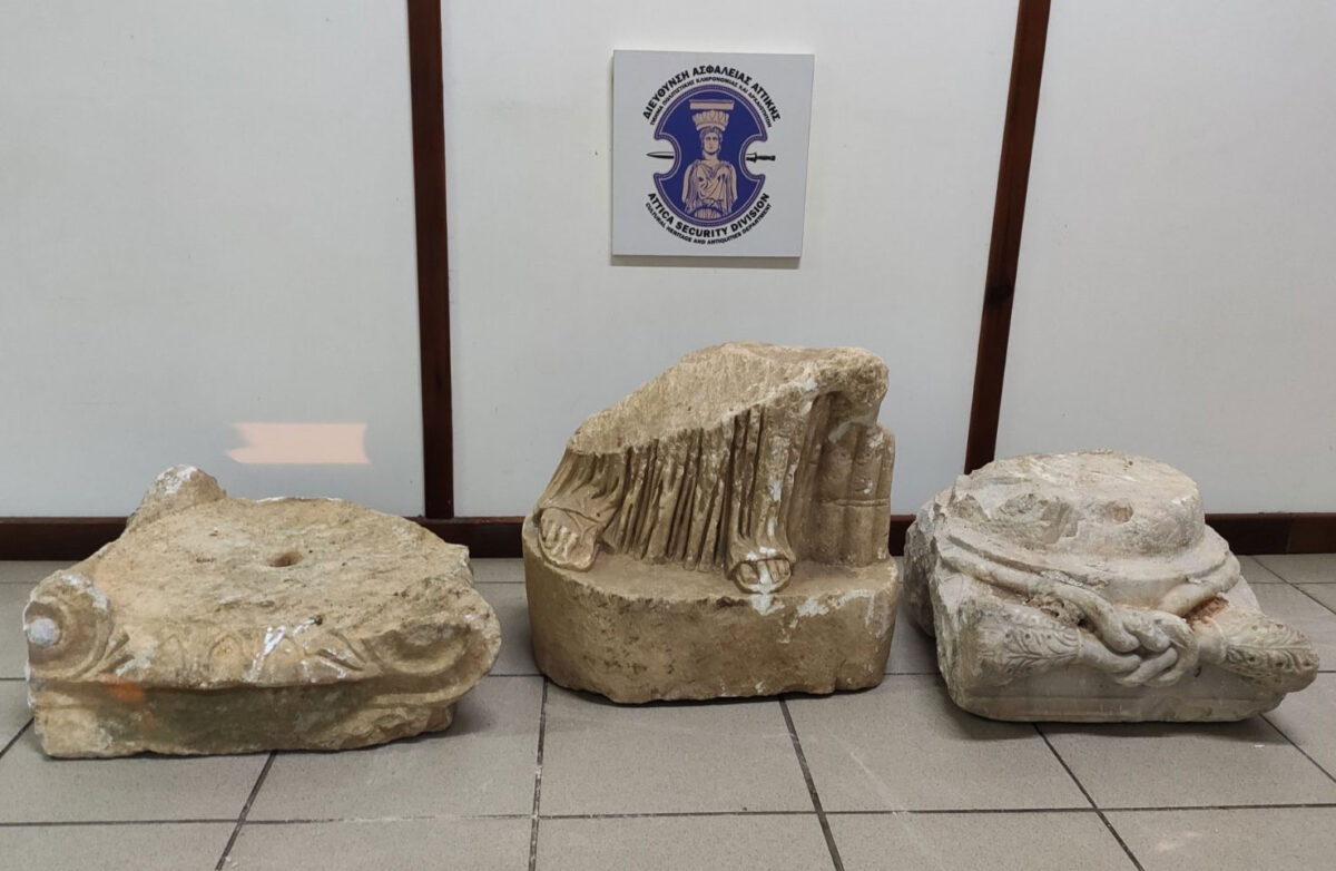 Ancient artefacts confiscated in Messenia (photo: Hellenic Police).