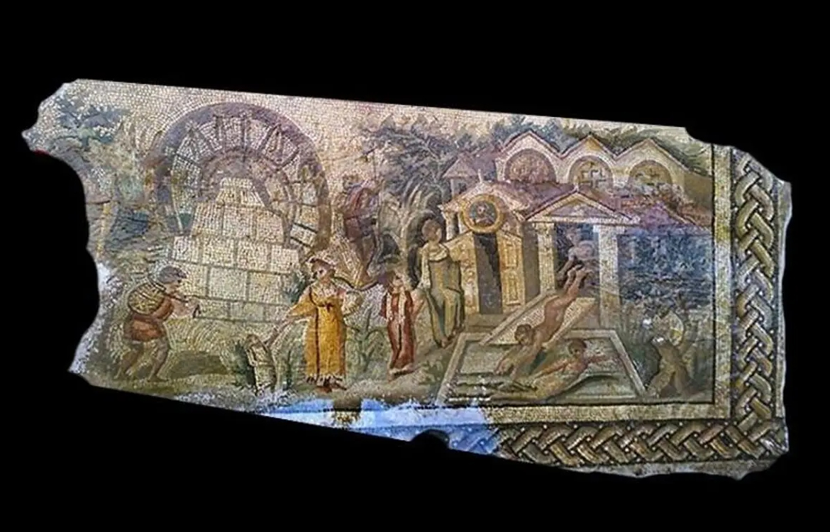 The looters published photographs online of the mosaic to facilitate the illegal sale, which has now been studied by researchers from the Faculty of Archaeology at the University of Warsaw. Image Credit : PAP