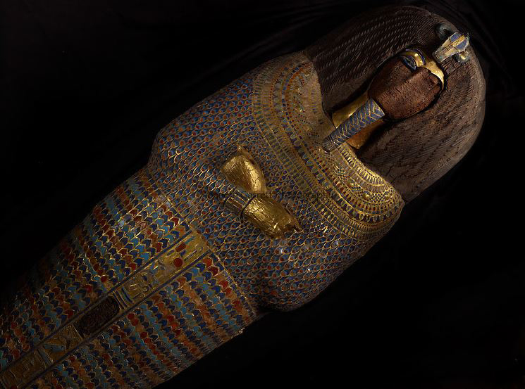 The K 55 coffin. Photo via ARCE newsletter after a model courtesy of David Anderson, Department of Archaeology and Anthropology, University of Wisconsin-La Crosse.