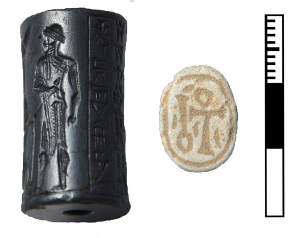 Tomb RR: Old Babylonian cylinder seal with Akkadian texts (c. 18th cent. BCE) and 18th Dynasty scarab with hieroglyphs (1350-1300 BCE)