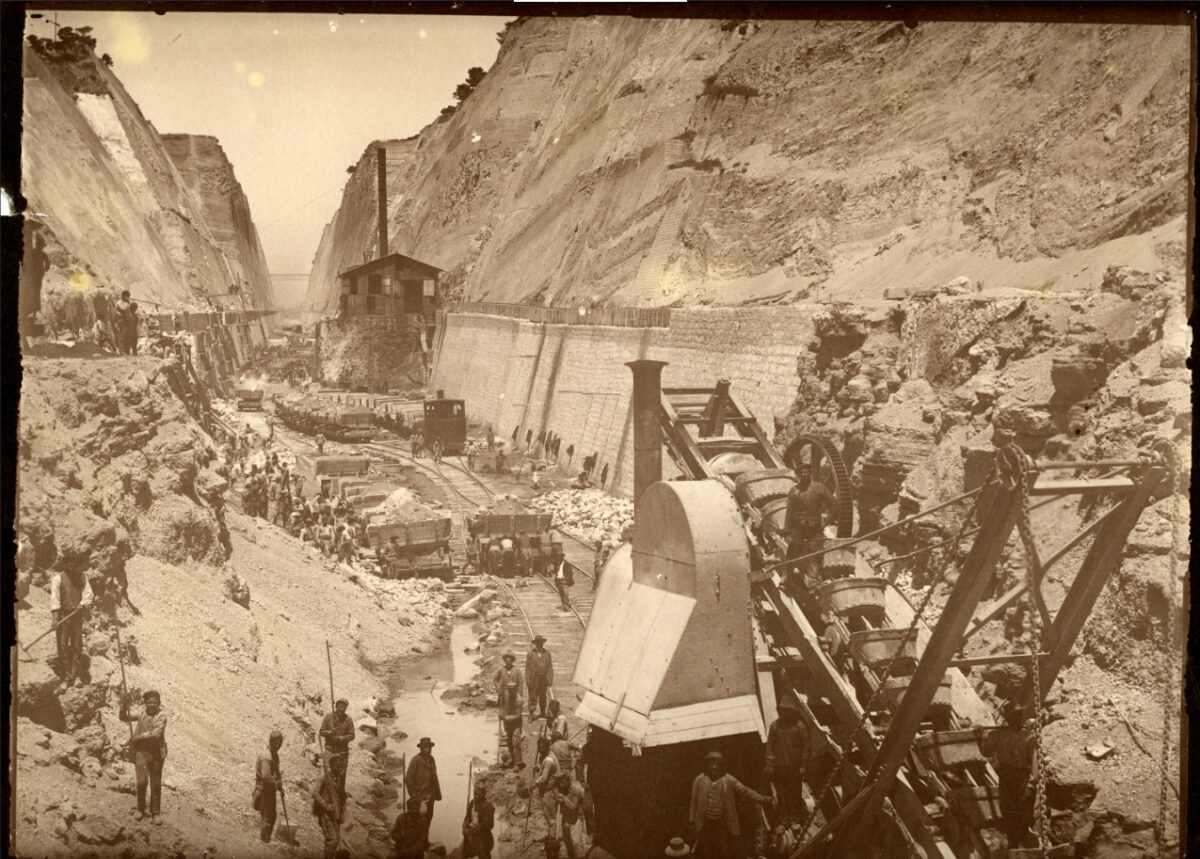 The Opening of the Corinth Canal, early 1890s, photographic print. Benaki Museum Historical Archives 146.