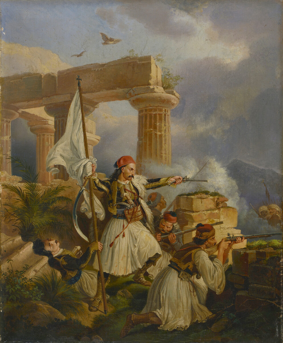 Peter von Hess (1792-1871), Greeks Fighting Among Ancient Ruins, 1829. Oil on canvas, 33x27 cm. Thanassis and Marina Martinos Collection.