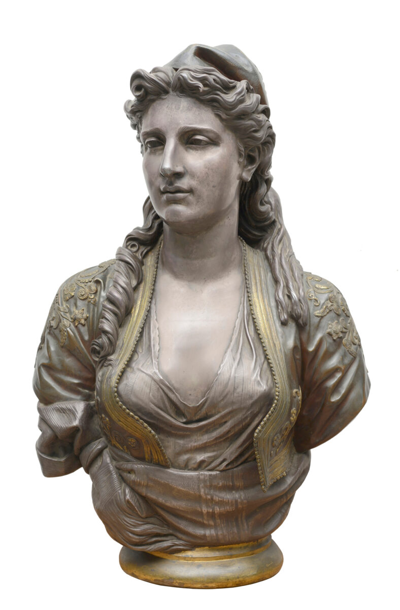 Charles-Henri-Joseph Cordier (1827-1905), Greek Woman, 1873. Bronze, gilded, silvered and enameled. Height 75 cm, length 45 cm, diameter of base 21 cm. Thanassis and Marina Martinos Collection.
