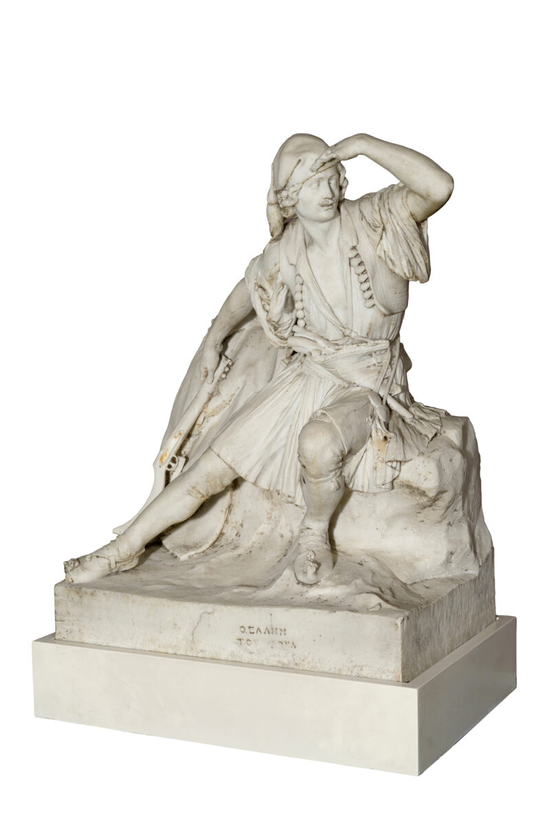 Georgios Phytalis (1830-1880), The Greek of 1821, 1855. Marble. Height 72 cm, length 57 cm, width 38 cm. Thanassis and Marina Martinos Collection.