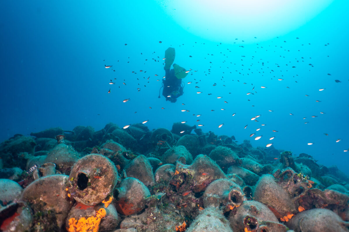 View of the Peristera shipwreck off Alonissos (photo: Ephorate of Underwater Archaeology)
