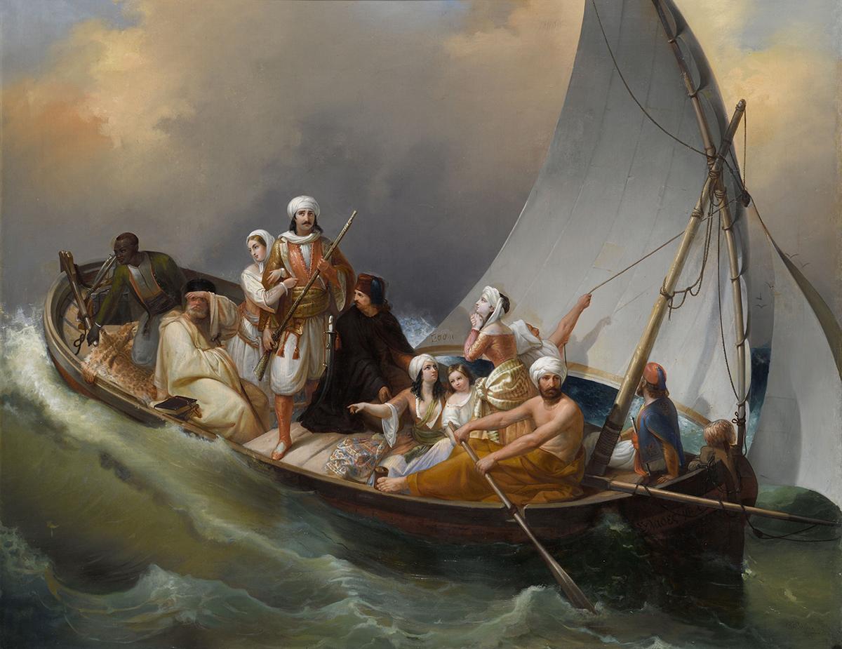 Carlo Belgioioso (1815–1881), The flight of Greeks from Parga, 19th c., oil on canvas, 92x118. Benaki Museum 8995