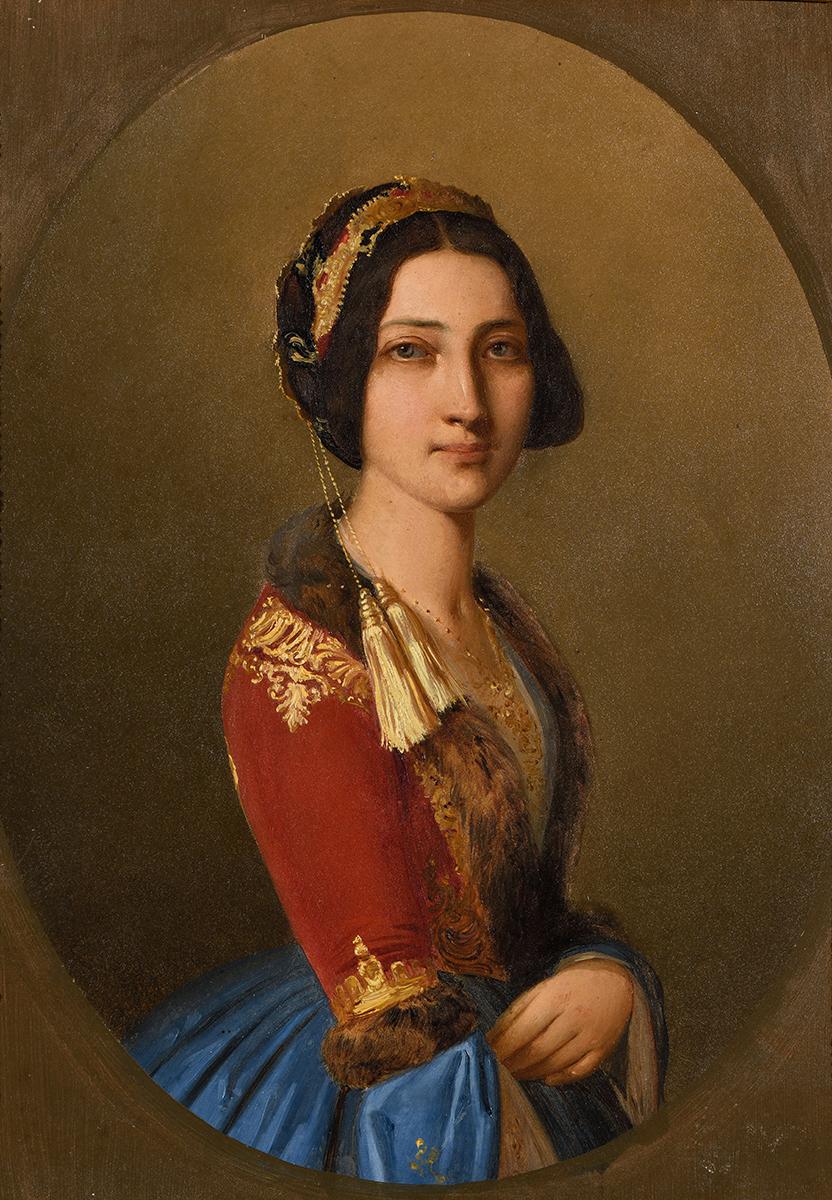 Spyridon Prosalentis (1830–1895), Photini Mauromichali in National Costume, mid-19th c., oil on canvas, 35x25.5 cm. Benaki Museum 9076, donated by Christos Daralexis