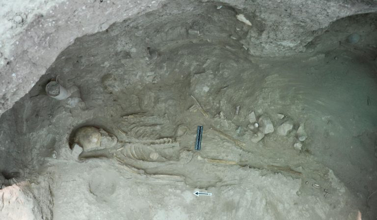 Tomb RR: Skeleton No. 5 in situ. Decorated ivory button on rib cage.