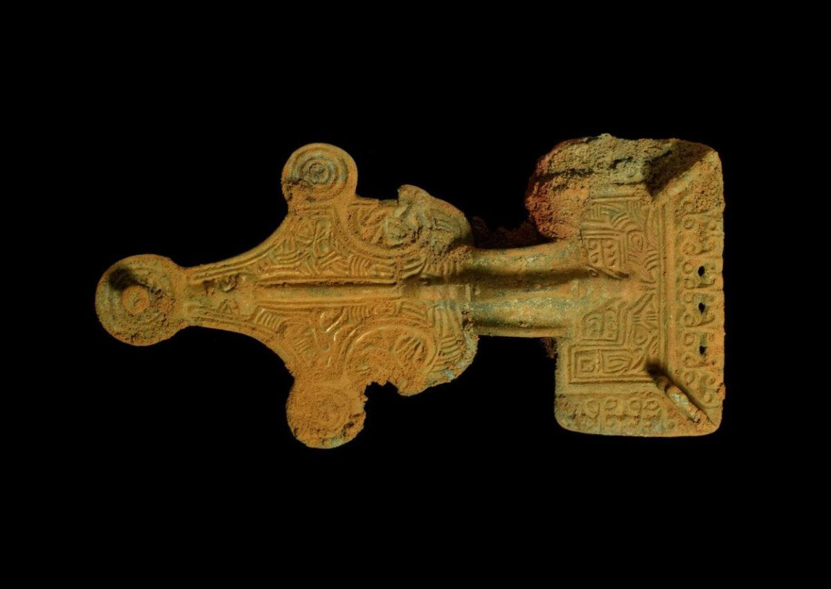 Saxon decorated brooch. Image Credit : MOLA
