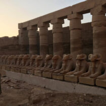 Rams statues behind first pylon in Temple of Amun-Ra in Karnak