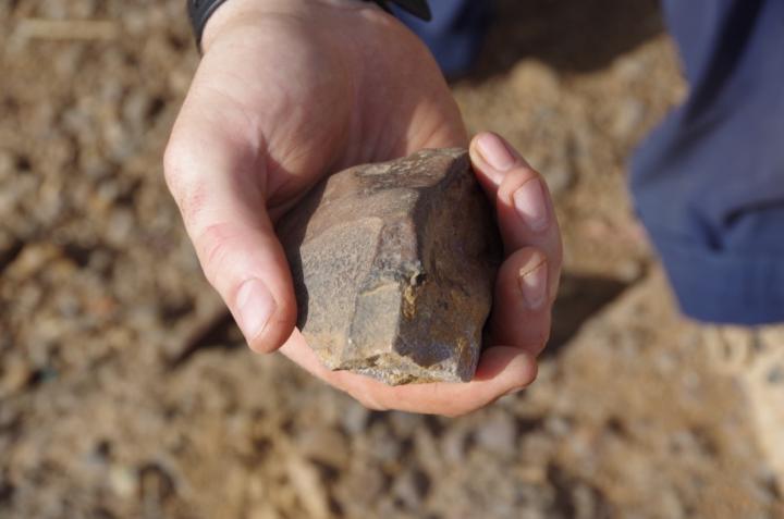 Freshly found artefact from Laminia, Senegal. Credit: Eleanor Scerri