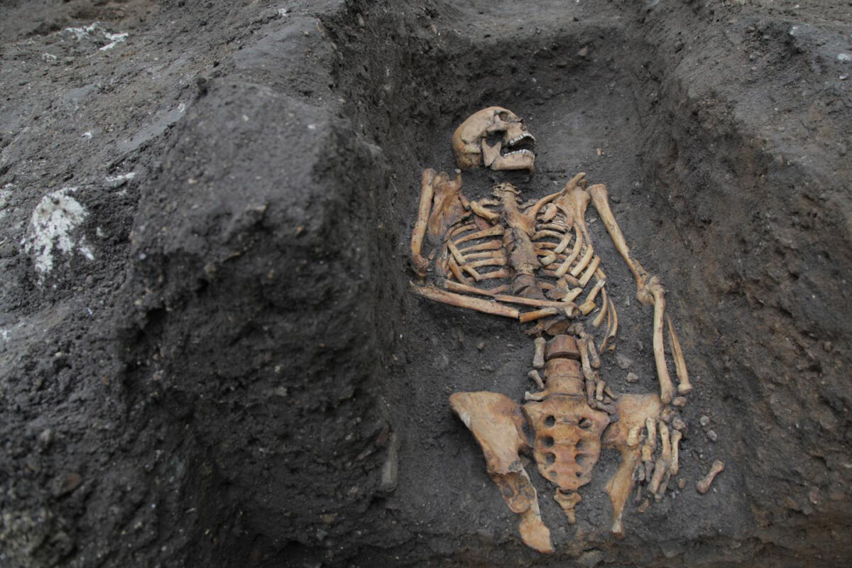 The remains of an individual buried in the Augustinian friary, taken during the 2016 excavation on the University of Cambridge's New Museums site. Credit : Nick Saffell