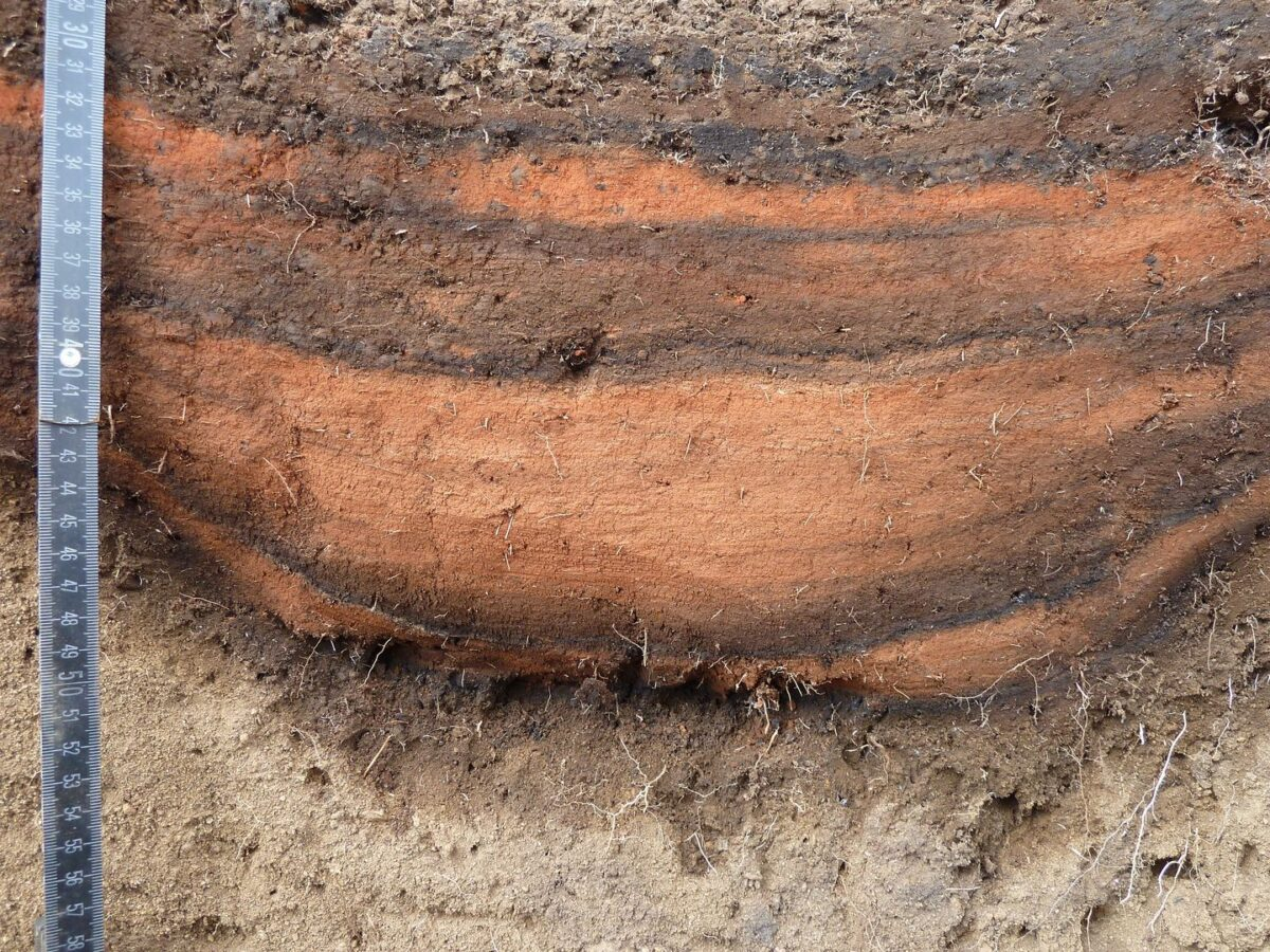 One of the pits filled with red pigment. The dark bands in the pit filling come from charred grass. © Andreas Mieth, Uni Kiel